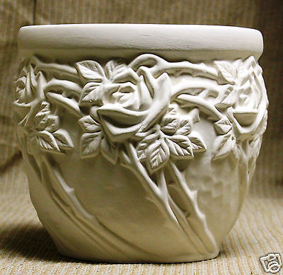 Ceramic Bisque Planter Rose Flower Pot Glazed Sittre Mold 151 Ready To Paint
