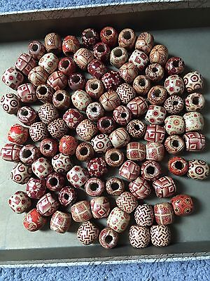 95 Mixed Painted Wood/Drum Spacer Beads-17x16 mm-Nice, Unused & Fast Shipping!!!