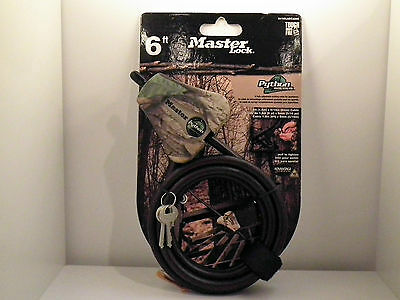 """6 Ft X 5/16"""" Python Adjustable Locking Cable Braided Steel Camo Security Lock"""