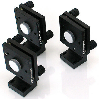 (Lot of 3) Newport MM-2 Kinematic Mirror Mounts with Mirrors and Stands