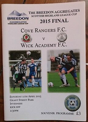 Cove Rangers v Wick Academy 11 April 2015 Highland League Cup Final