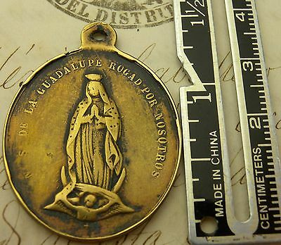 Antique Spanish Colonial Guadalupe Mexico Shrine Pilgrimage Bronze Rosary Medal