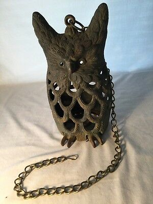 Antique Cast Iron Old Weathered Vintage OWL Figure Hanging Chain Candle Lantern