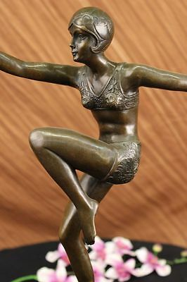 Signed Swimmer Dancer Chiparus Bronze Sculpure Statue On Marble Base Figurine Nr