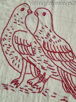"""Nvr Used Antique c1900 Penny Squares Red Gingham Redwork Animals QUILT 74x75"""""""