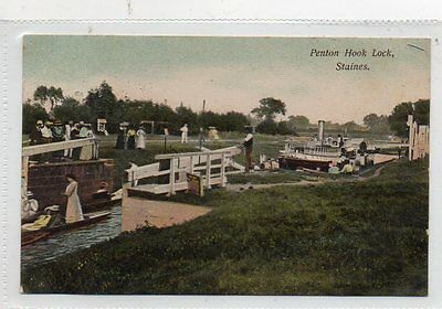 """""""""""postcard Penton Hook Lock,staines,middlesex,dated 1906"""""""""""