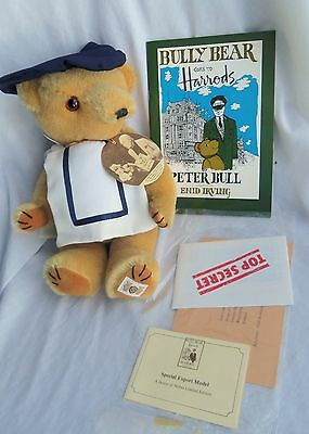 Nisbet YOUNG BULLY BEAR w/ book Goes To Harrods by Peter Bull MIB, mohair
