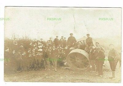 Old Postcard Unidentified Traction Engine Accident Real Photo Vintage C.1910