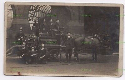 Old Postcard Pilkington Brothers Fire Brigade St Helens Lancs Real Photo C.1910
