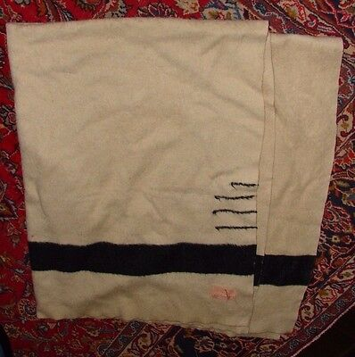 Rare 1920's Hudson's Bay Company 3 1/2 Point Wool Blanket White W/black Stripes