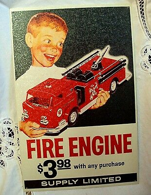 """Reproduction 1998 TEXACO Licensed Sign ~ FIRE ENGINE - SUPPLY LIMITED 15"""" x 10"""""""