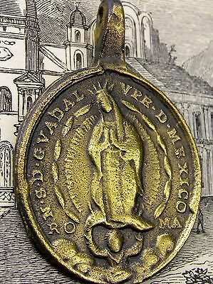 Antique Spanish Colonial Sacred Heart of Jesus & Guadalupe Mexico Shrine Medal