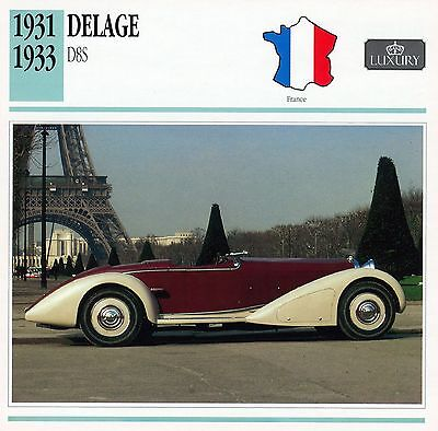 1931-1933 DELAGE D8S collector card.