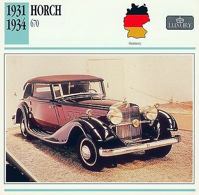 1931-1934 HORCH 670 collector card.