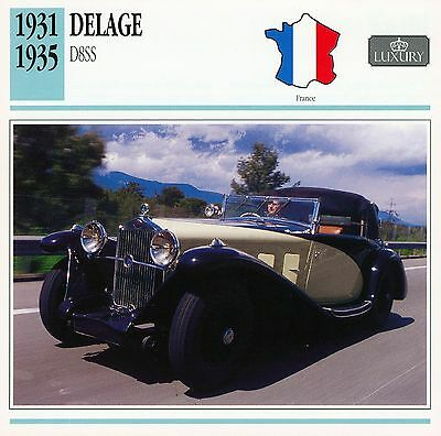 1931-1935 DELAGE D8SS collector card.