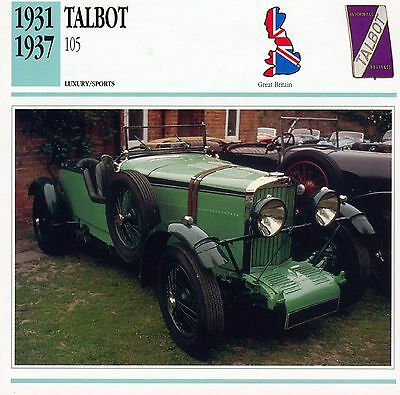 1931-1937 TALBOT 105 collector card.