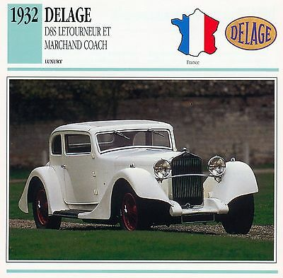 1932 DELAGE D8S collector card.