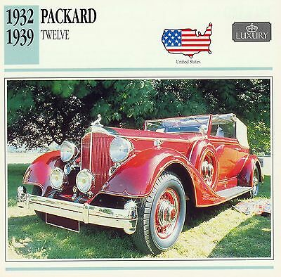 1932-1939 PACKARD TWELVE COUPE-ROADSTER collector card.