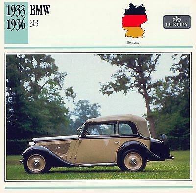 1933-1936 BMW 303 collector card.
