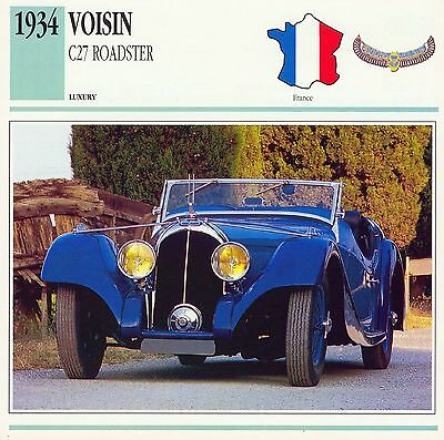 1934 VOISIN C27 ROADSTER collector card.