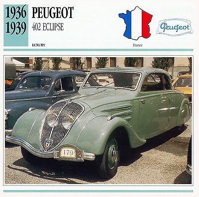 1936-1939 PEUGEOT 402 ECLIPSE collector card.
