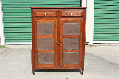 Fabulous Early NC Solid Walnut & Southern Yellow Pine Pie Safe Cupboard Cabinet