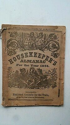 "1894 ANTIQUE BOOK "" HOUSEKEEPERS ALMANAC "" Magazine for Farmers pub Philadelphia"