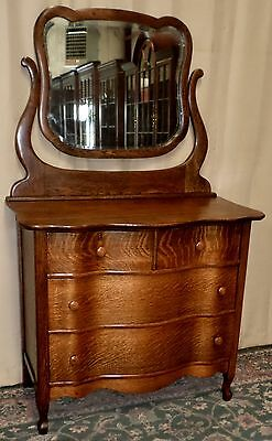 OAK DRESSER WITH MIRROR Three Serpentine Drawer Tilt Mirror ANTIQUE