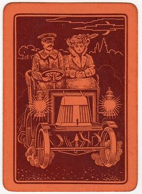Playing Cards 1 Single Swap Card Old Antique Wide AUTOMOBILE CAR Chauffeur Lady