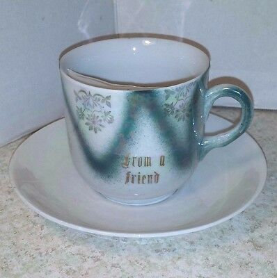 """Antique Mustache Cup And Saucer  """"from A Friend"""" Blue"""