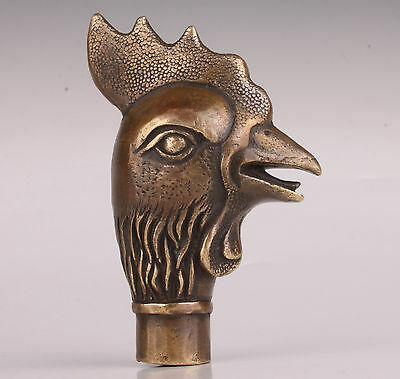 Bronze Statue Rooster Cane Walking Stick Head Handle Accessories Collectable