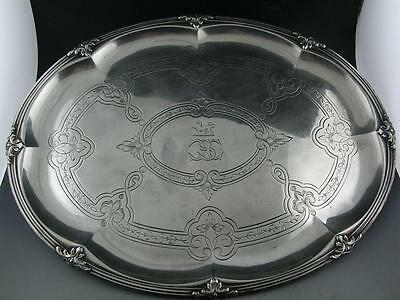 early French 950 Silver Oval Tray / Dish JEAN BAPTISTE HARLEUX engraved c1800s
