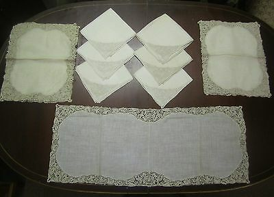 Antique Linens & Bobbin Lace Table Set: Runner 6 Placemats, 6 Napkins