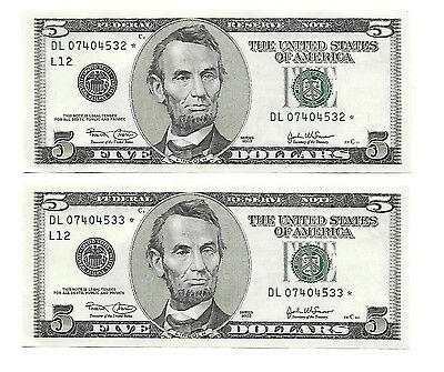 2003 $5 Federal Reserve STAR Notes (2)  Two (2) Consecutive Serial Numbers UNC !