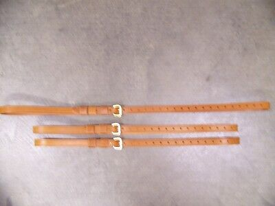 LEATHER LUGGAGE STRAPS for LUGGAGE RACK/CARRIER~(3) SET~LT. HONEY~SOLID BRASS
