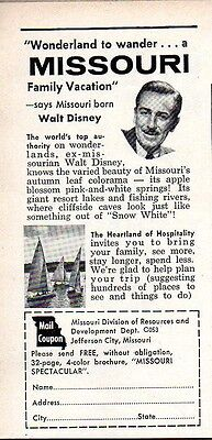 1960 Print Ad Missouri Division of Resources Walt Disney Recommends Missouri