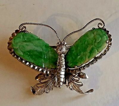 Handmade Chinese Carved Jade Butterfly, 18k White Gold Pendant, Pin, or Brooch