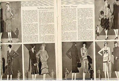 1928 8 Pages of Women's Fashion from Le Samedi of Nov 1928 Patterns by Butterick