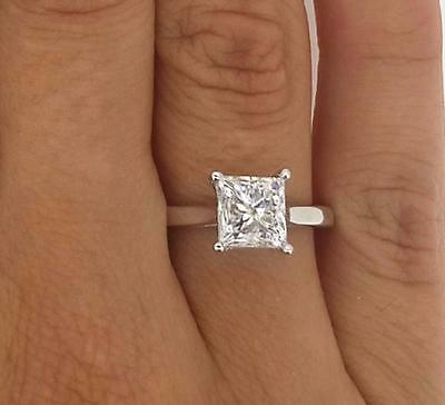 1.50 Ct Princess Cut D/Si1 Diamond Solitaire Engagement Ring 14K White Gold