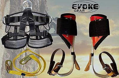 Tree Climbing Spike Set,Aluminum Pole Spurs Climbers + Pro Harness New EvokeGear