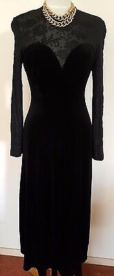 VINTAGE .. THORNTON HALL 1990's BLACK DRESS MADE IN NEW ZEALAND