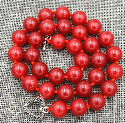 "HOT!12mm Red Ruby Round  beads Gemstone Necklace 18"" Tibetan silver love clasps"