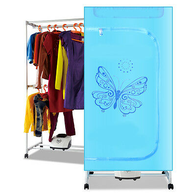 Blue Portable Home Mute Energy-saving Rotary Switch Electric Air Clothes Dryer..