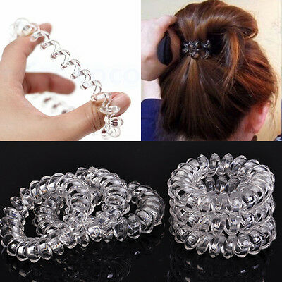 6x Clear Rubber Rope Hairband Elastic Rubber Hair Ties Hair Bobble