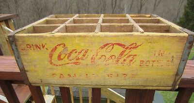 1963 Family Size Yellow Wooden Coca Cola Crate Carrier Case Vintage
