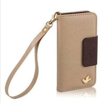 Wallet Card Holder Pouch PU Leather Phone Case Cover For iPhone5c beige