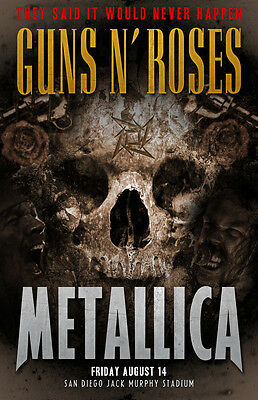 Guns n Roses and Metallica concert poster print A4 size