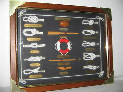 Sailor Knots & Tools All Labelled & Named In Wood Box Frame Brass Highlights