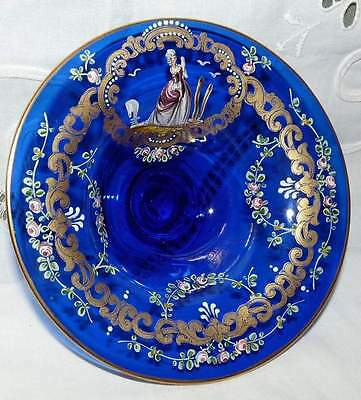 Stunning Blue Glass Bowl. Hand Decorated,possibly Bohemia Glass. Pretty