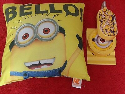 Minions Table Lamp Free Standing Or Clip On + Minions Cushion   Vgc